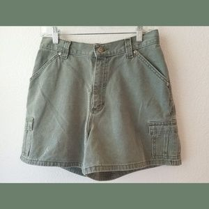 Riveted by Lee Green Khaki High Waisted Shorts 10M